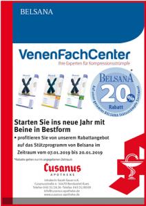 VenenFachCenter: 20 % Rabatt auf das Belsana Stützprogramm