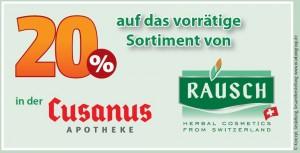 20 % Rabatt auf das vorrätige Rausch-Sortiment.